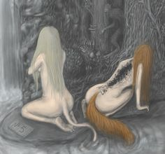 Well this is creepy as hell...Huldra - Scandinavian myth: naked forest women that had fox or cow tails, and hollow or bark covered backs. They lured men into the forest in order to mate.