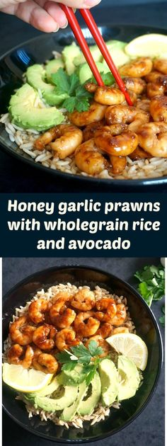 Honey garlic prawns/shrimps with wholegrain rice and avocado, a super healthy and delicious dish