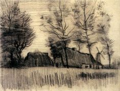 Landscape with Cottages and a Mill - Vincent van Gogh; his marks are so simple and almost crude, but they come together in such a harmonious way in this drawing