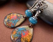 Weekend In New England - Enamel Copper Glass Bead and Sterling Earrings