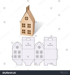 Candy model box of house. Retail Box with Die-cut Layout. Vector Illustration of Box. Candy model box of house. Retail Box with Die-cut Layout. Vector Illustration of Box. Box Houses, Putz Houses, Paper Houses, Paper Box Template, House Template, Candy Models, Christmas Crafts, Christmas Decorations, Diy Gift Box
