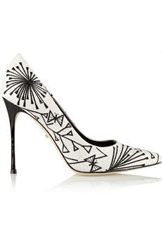 Sergio Rossi Embroidered canvas pumps | NET-A-PORTER