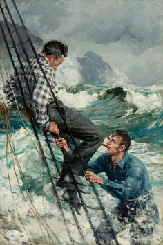'Man in Rigging' by Anton Otto Fischer (American- : Original Oil on… American Illustration, Illustration Art, Old Sailing Ships, Man Of War, Art Of Man, Artist Biography, Original Art For Sale, Tall Ships, Art Auction