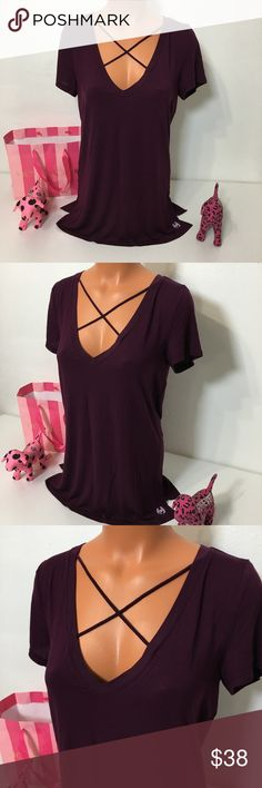NEW PINK VS STRAPPY FRONT V NECK SHIRT NEW PINK VICTORIA'S SECRET STRAPPY FRONT V NECK SHIRT SHORT SLEEVE .  COLOR MAROON  SIZE S  FAST SHIPPING!!! ✅  Check out my other items! I am sure you will find something that you will love it! Thank you for watch!!!!! Be sure to add me to your favorites list! PINK Victoria's Secret Tops Tees - Short Sleeve