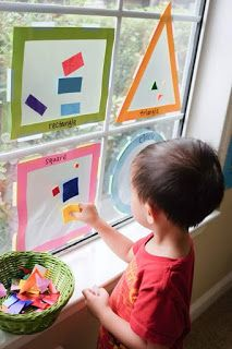 Maddie Wyrick Sort and classify objects by one attribute (size, shape, or color). Identify two-dimensional shapes: circle, square, triangle and rectangle Shapes Sorting Suncatcher - Happy Tot Shelf Toddler Learning Activities, Sorting Activities, Indoor Activities For Kids, Infant Activities, Kids Learning, Learning Games, Learning Spanish, Teaching Kids, Shapes For Toddlers