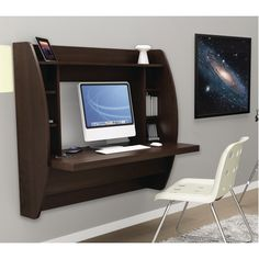 Prepac Floating Wall-Mounted Desk (EEHW-0200-1) - Espresso                                                                                       - Online Only