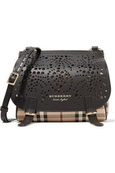 32a40e2a338e4 Burberry - Checked textured and perforated leather shoulder bag