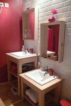 Children bathroom Ikea Bekvam hack. Détournement Ikea bekvam pour lavabo d'enfant économique.Carrelage metro