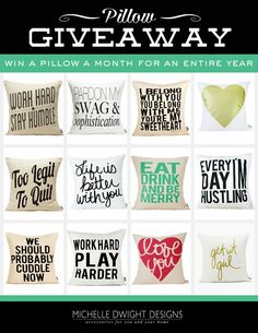 Win Pillows For A Year! not just any pillows... awesome pillows!!