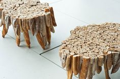 This baguette table created by Polish design firm Studio Gyalik. The table was inspired by the Vienna case study, where food thrown away in the Austrian capital could feed half of the population of Graz. Using nothing but dried out loaves of French bread, the table is supposed to make you feel bad about wasting food.