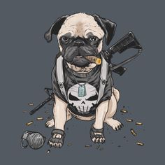 Pug Punisher T Shirt. Frank Castle is a pug. A gun carrying, cigar smoking dog. Awesome Marvel Comics fan art.