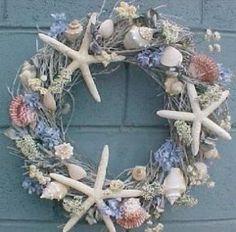 Nautical Christmas Wreath Seashell Ornaments, Seashell Wreath, Door Wreaths, Wreaths For Front Door, Grapevine Wreath, Diy Wreath, Wreath Ideas, Coastal Decor, Seaside Decor