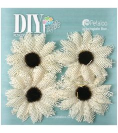 Petaloo DIY Paintables 4pcs 2'' Burlap Sunflowers-Ivory