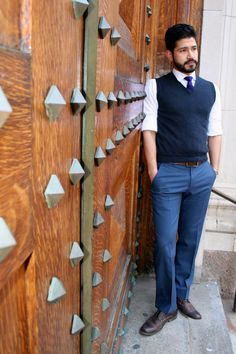 sweater vest + button down + tailored pants #menswear #BRMadMen