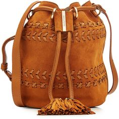 See by Chloé Suede Bucket Bag ($395) ❤ liked on Polyvore featuring bags, handbags, shoulder bags, yellow, boho purses, suede shoulder bag, boho shoulder bag, yellow handbags and suede purse