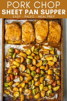 Use this Pork Chop Sheet Pan Supper recipe to make a delicious and simple dinner on one pan. Just make a creamy balsamic marinade and bake the pork chops with veggies. Paleo Recipes Easy, Gluten Free Recipes For Dinner, Supper Recipes, Pork Recipes, Recipies, Cooking Recipes, Easy Meal Prep Lunches, Healthy Meal Prep, Easy Healthy Dinners