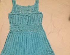 Items similar to CROCHET YOKE SPRING SUMMER DRESS-ORGANIC ICTERINE YELLOW COTTON FABRIC WITH TURQUOISE CROCHET on Etsy