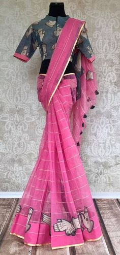 Looking for collar blouse designs for your sarees? Here are our picks of 13 amazing blouse designs you can wear with any saree. Cotton Saree Blouse Designs, Saree Blouse Patterns, Kalamkari Blouse Designs, Skirt Patterns, Coat Patterns, Clothes Patterns, Sewing Patterns, Stylish Blouse Design, Stylish Sarees