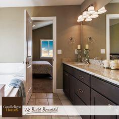 We love the modern hardware in this gorgeous master bathroom! #candlelighthomes #utahhomes #utahbuilder #newhomesutah #homedecor #interiordesign #masterbathroom #home #utah