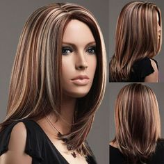 Beautiful Hair Accessories Long Full Wigs Girls Mixed Brown American Wig Female Style Straight Wigs for Women Synthetic Hair Wigs Soft Beautiful Hair Replacement Wigs Adjustable Size Curtain Lace Wig - 2019 hair - Trendy Hairstyles, Wig Hairstyles, Straight Hairstyles, Medium Hairstyle, Hair Medium, Hair Highlights And Lowlights, Gray Highlights Brown Hair, Color Highlights, Anime Cosplay