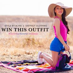 style by alina, fashion blog, summer outfit giveaway, pink tank top, blue shorts, district clothing