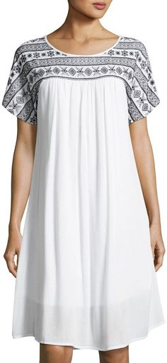 a7d8bad0ed95 Neiman Marcus Embroidered Short-Sleeve Swing Dress