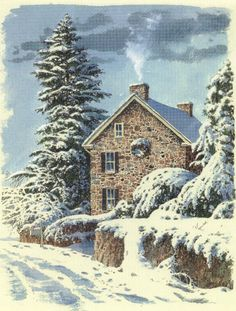 Country snow scene. Stone house. Rock house.