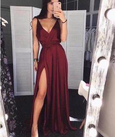 Simple Burgundy V-Neck Satin Prom Dress,Long Evening Dress