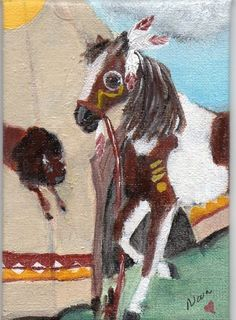 ACEO Original Oil painting  Native American Indian Bufflo Horse War Pony Hart #Realism