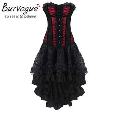 Burvogue Women Wasit Trainer Slimming Corsets And Bustier Top Sexy Gothic Corset Dress Overbust Waist Corsets