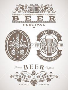 cerveza emblemas y etiquetas - ilustración vectorial — Vector de stock  #26366365