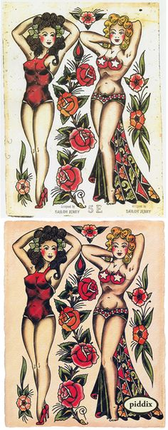 Incredibly rare tattoo flash by Norm Collins, aka Sailor Jerry, the king of Old School tattoos. The original on top had been used as a dart board. Read more about the history of these images here: http://piddix.blogspot.com/2013/09/old-school-tattoo-designs-by-norm.html
