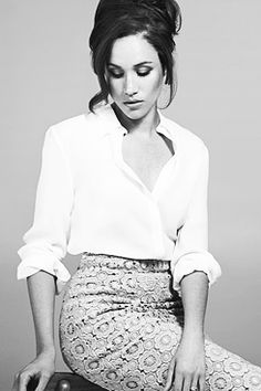 Megan Markle as Rachel Zane on Suits. Most of her wardrobe on the show is SC (and she's GORGEOUS)