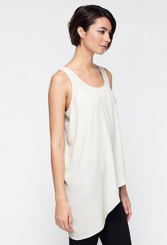 EILEEN FISHER BLACK CHIFFON ASYMMETRIC TOP Asymmetrical Tops, Eileen Fisher, Basic Tank Top, Ideias Fashion, Style Me, Chiffon, Silk, Female, Tank Tops