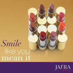 Smile like you mean it with JAFRAs Royal Jelly Luxury Lipstick. ‪#‎JAFRA‬ ‪#‎RoyalJelly‬ ‪#‎RoyalJellyColor‬ ‪#‎Lipstick‬ http://jafra.me/kp7