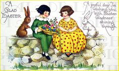 LAST CHANCE 1.15 Art Deco Easter Children by DandDDigitalDelights