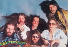 """GROUP PHOTO Of The """"ORIGINAL"""" MOLLY HATCHET Band From a Photo Shoot For The Band's First Album in 1978. (L-R): Banner Thomas (Bass); Duane Roland (Guitar); Steve Holland (Guitar); Dave Hlubek (Guitar); Bruce Crump (Drums) & Danny Joe Brown (Vocals) ** THE REAL DEAL!! **"""