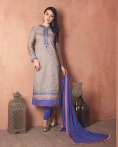 Beige   Gracious Embroidered Chanderi Designer Salwar Suits for women(Semi Stitched)       Fabric:   Chanderi       Work:   Embroidered       Type:   Designer Salwar Suits   for women(Semi Stitched)       Color:   Beige                 Fabric Top