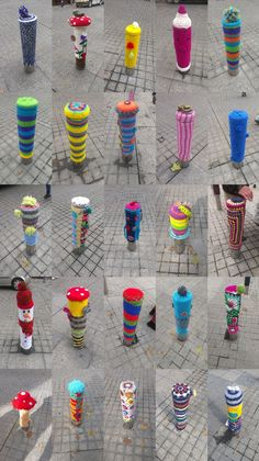 Bolardos2 #Yarnbombing de http://silencioestoycontando.wordpress.com/. Visualize as a Splat design.