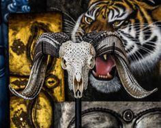 20% OFF SALE - Hand Carved Tribal RAM Skull/ Bighorn Sheep Skull + Longhorns / Horns/ Cow/ Steer Antique Taxidermy by AureusArts on Etsy https://www.etsy.com/listing/227384697/20-off-sale-hand-carved-tribal-ram-skull