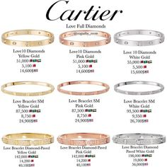 Cartier Diamond Love Bracelets One of each, please! Cartier Love Bracelet Diamond, Cartier Love Ring, Cartier Jewelry, Diamond Bracelets, Diamond Jewelry, Jewellery, Gemstone Jewelry, Mens Gold Bracelets, Love Bracelets