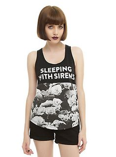 Sleeping With Sirens Floral Panel Girls Tank Top, BLACK