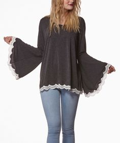 Another great find on #zulily! Gray Lace-Trim Bell-Sleeve Top by Young Threads #zulilyfinds