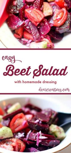 Beet Salad With Cucumbers And Tomatoes + Balsamic Vinaigrette | Easy red beet salad recipe that is delicious, using fresh beets.You'll love this side dish=>