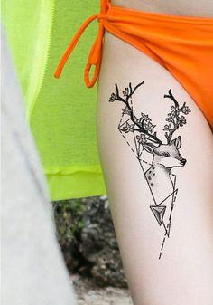Geometric Deer Thigh Tattoo Ideas for Women - Simple Nature Tat - ideas del tatuaje del muslo del ciervo - www.MyBodiArt.com #tattoos