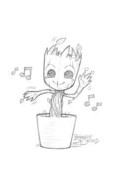 Just a casual picture of Baby Groot - # casual . Just a casual picture of Baby Groot - # casual - Always wanted to figure out how to knit, no. Music Drawings, Doodle Drawings, Drawing Sketches, Pencil Drawings, Drawing Drawing, Drawing Ideas, Kawaii Drawings, Animal Drawings, Marvel Drawings