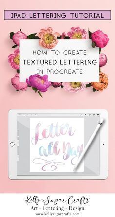 How to create textured lettering in Procreate tutorial by Kelly Sugar Crafts Brush Lettering Worksheet, Hand Lettering Practice, Lettering Tutorial, Lettering Design, Lettering Ideas, Lettering Styles, Ipad Kunst, Inkscape Tutorials, Bubbline