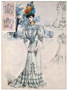 Art nouveau, Fin de siècle summer costume of striped Eolienne