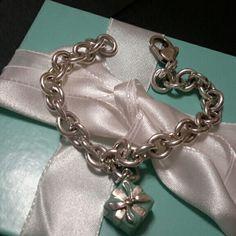Tiffany&co Charm Braclet Tiffany&co sterling silver 925 Charm Bracelet W/ Signature Blue Enamel Gift Box Charm W / jump ring Tiffany&co  Jewelry Bracelets
