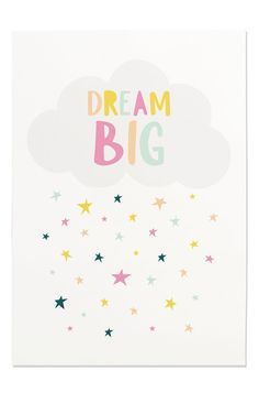Dream Big Print Dream Big Nursery Art by FleurtCollective on Etsy Kids Room Paint, Kids Room Wall Art, Nursery Prints, Nursery Art, Cute Background Pictures, Line Art Flowers, Cute Messages, Hand Painted Walls, Printable Art